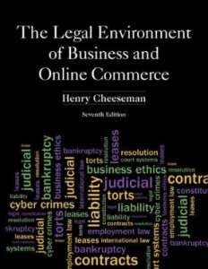 Test bank for The Legal Environment of Business and Online Commerce 7th Edition by Cheeseman